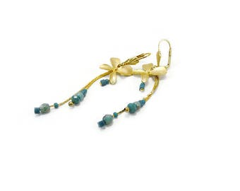 Earrings Gold Plated Orchid teal beads