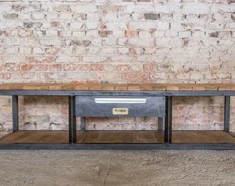 Industrial steel and oak TV