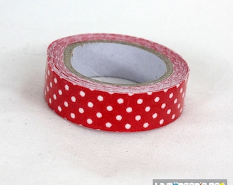 masking tape 15 mm red polka dot cotton