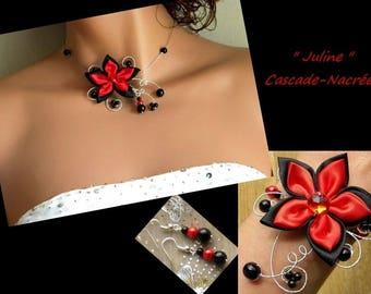 Bridal flower JULINE black red silver Pearl bridal set