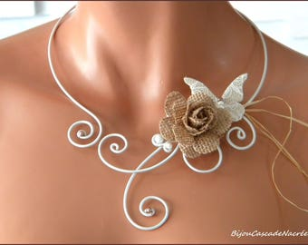 wedding Rose linen sisal lace Butterfly aluminum Pearl Necklace Pearl