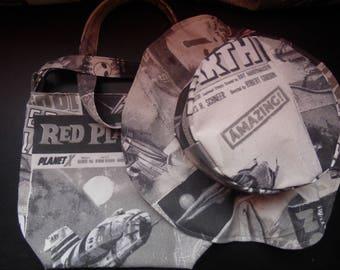 Set hat and bucket bag retro sci-fi poster / vintage