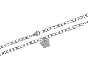 Butterfly engraved steel bracelet