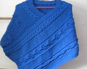 Electric blue woman poncho