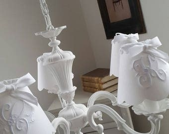 Chandeliers with 5 lights weathered white Alabaster shades monograms