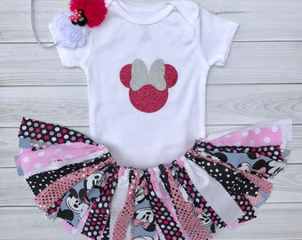Minnie Mouse 1st Birthday Outfit , 1st Birthday Girl Outfit , First Birthday Outfit Girl , First Birthday Tutu Outfit , First Birthday