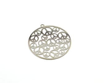 1 round pendant filigree silver metal peace and love 30mm