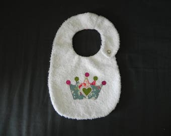 White, Terry cloth bib with Crown