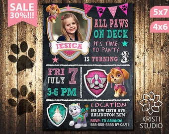 Paw Patrol Invitation Girl - Paw Patrol Invitation - Paw Patrol Girl Birthday - Paw Patrol Birthday Invitation - Paw Patrol Girl Party