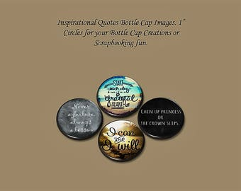 Motivational Sayings bottle cap image Inspirational Quotes Digital Collage Sheet 1 inch round circle printable download, Instant Download