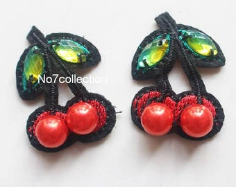1 Pair Red Cherry Patches