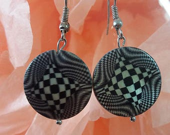 "Earrings ""Psychedelic"" black and white costume jewelery"