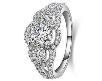 3-Stone CZ .925 Sterling Silver Engagment Wedding Ring Women's Size 3-11 SS18