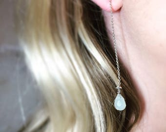 Dangling earrings in 925 Silver chain with stone thin new jade.