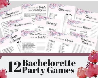 12 Bachelorette Party Games, Printable Bachelorette Party Game, Bridal Shower Game, Hens Night Game, Printable Party Game