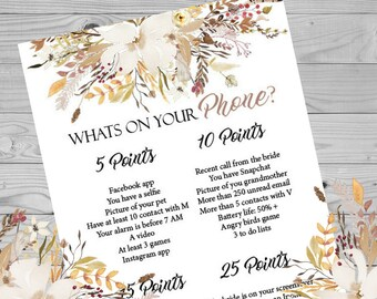 Fall Floral Whats On Your Phone Birthday Party Game, Printable Birthday Party Game, Party Game
