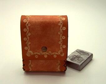 Cognac leather snare plant tanning cigarette cases