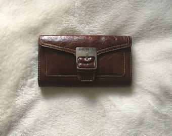 Nine West Chocolate Brown Buckle Strap Wallet