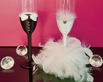 All personalized champagne flutes for the bride and groom married gift handmade