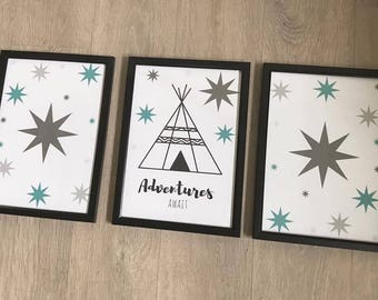 Set of 3 Boys Print