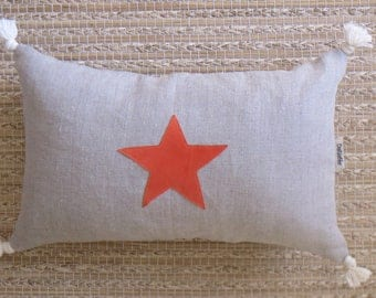 "Trendy pillow cover ""Oh the beautiful Star"" Orange"