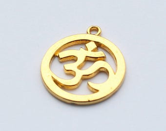 5 Gold Om Charms - Yoga Charms - EF00155