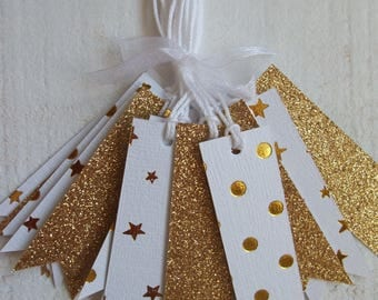 Set of 15 Tags labels white & gold