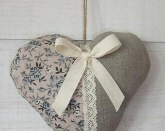 Heart door pillow (No.20) linen & liberty blue