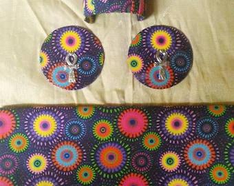 Multi-colored Purple Retro Head Wrap Set