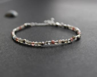 fine silver bracelet 925/1000 with rhodochrosite and labradorite beads