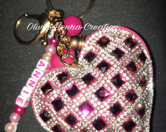 Personalized Keychain - pink heart