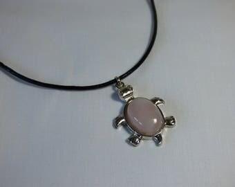 Rose Quartz pendant on leather cord