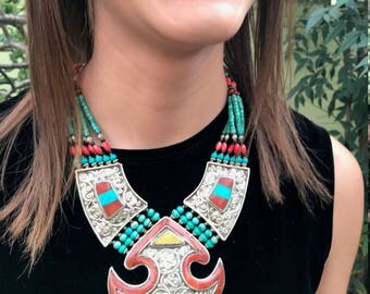 Ethnic statement necklace with turquoise, coral and silver