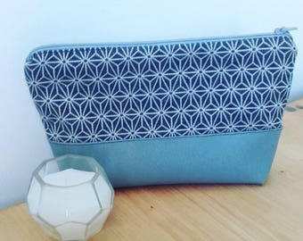 Cotton and faux leather pouch