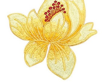 Lotus jaunepatch badges on embroidery patch applique flowers
