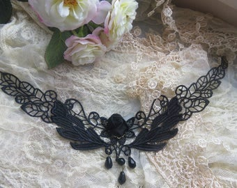 Gothic necklace Black Lace with pink black and pearls