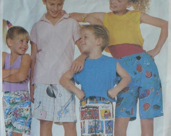 Children's, Boys or Girls Shorts Pattern - Vintage McCall's 3036, Multiple Sizes