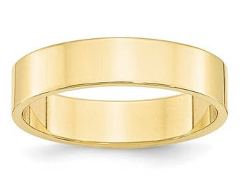 New 10K Solid Yellow Gold 5mm Flat Men's and Women's Wedding Band Ring Sizes 4-14 High Polished Stackable Thumb/ Knuckle Rings