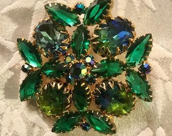 Large Glass Bead Flower Brooch