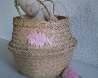 Thai cotton fish basket pink decor and storage the hearty