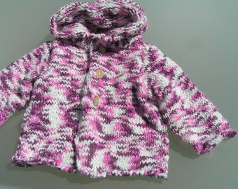 with hood knitting Wool Cardigan 6-9 months