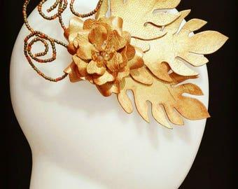 Majestic Golden Leaves & Flower Headpiece (genuine leather)