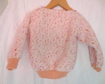 Orange speckled wool baby sweater