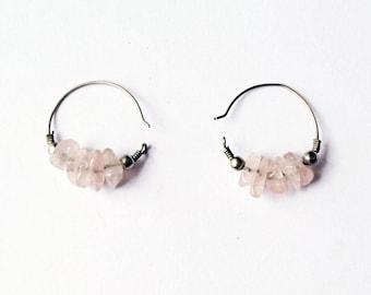 ROSE quartz chips earrings