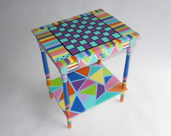 Accent Table - Hand Painted Furniture Art