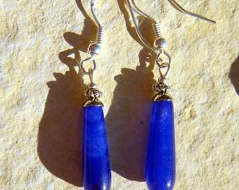 LONG DROP IOLITE BLUE SAPPHIRE 925 STERLING SILVER EARRINGS