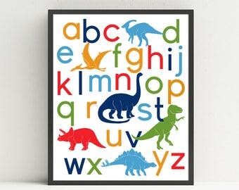 Dinosaur Alphabet Poster, Nursery Art Print, Kids Wall Art, Baby Shower Gift, ABC wall art, Dino Letters, Choose Your Custom Colors