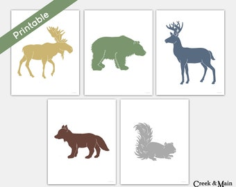 Woodland Nursery Art, Printable Boy Room Decor, Woodland Wall Art, Boy Nursery Art,  Moose, Deer, Fox, Bear, Squirrel