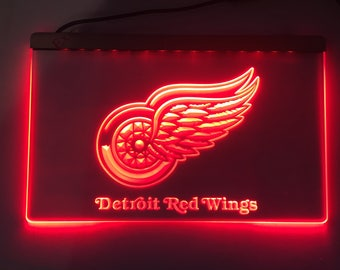 Detroit Red Wings sign, Red Wings light