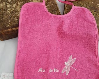 """Pink bib embroidered """"Sweetheart"""" and the Dragonfly"""